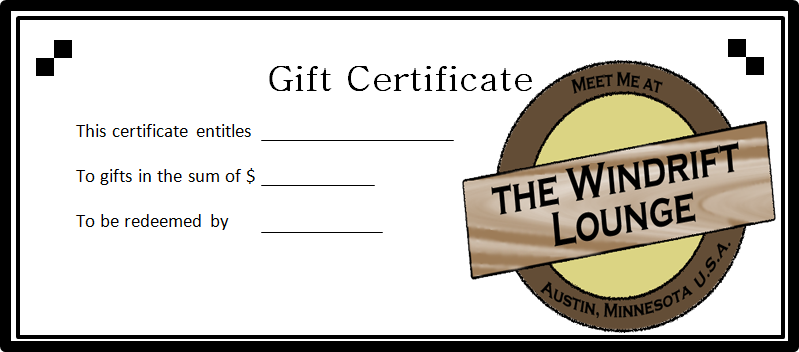 The Windrift Lounge Gift Certificate