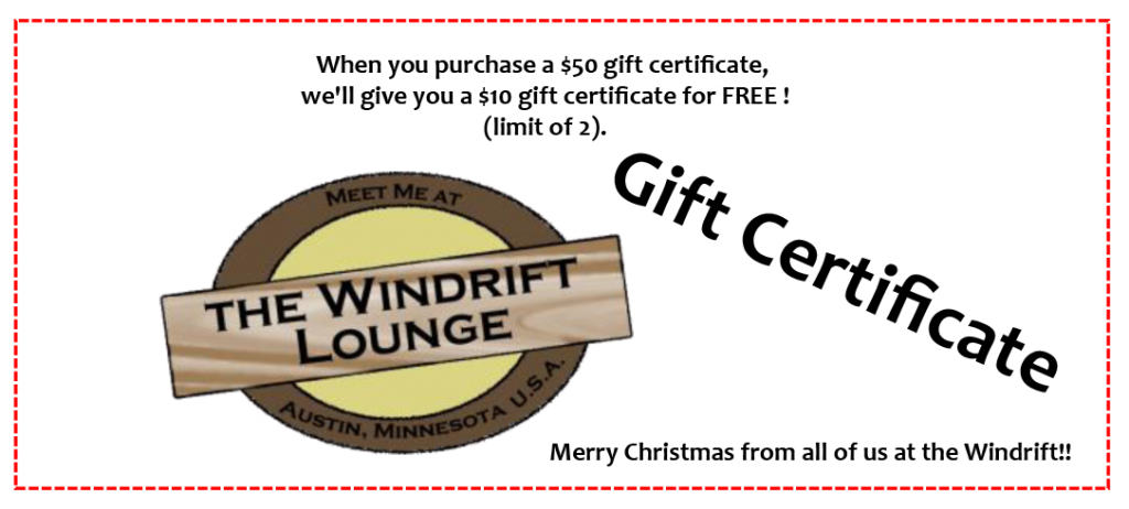 When you purchase a $50 gift certificate,  we'll give you a $10 gift certificate for FREE ! (limit of 2).